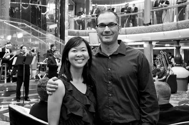 Black and White photo of Charlotte and I during the cruise.